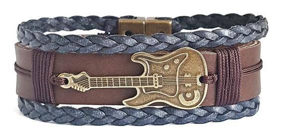 Pulseira Bracelete Masculino De Couro Entremeio Guitarra