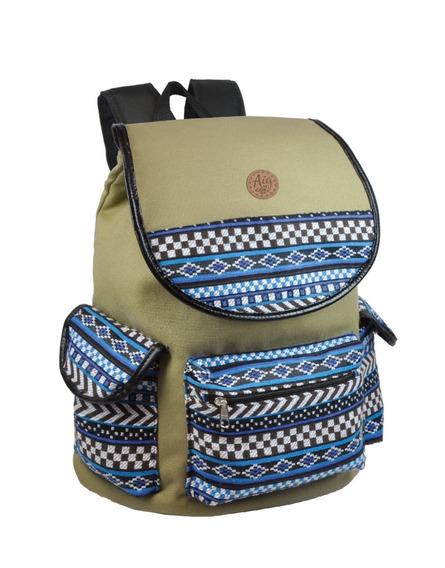 Bolsa Mochila Feminina Escolar Indiana Azul Lona Bolsos 6773