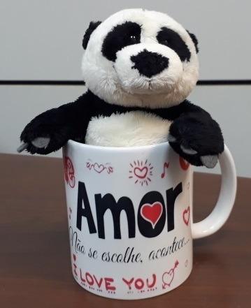 Imagem 1 de 10 de Ursinho Pelucia Panda 15cm Na Caneca Amor Love P/ Namorados