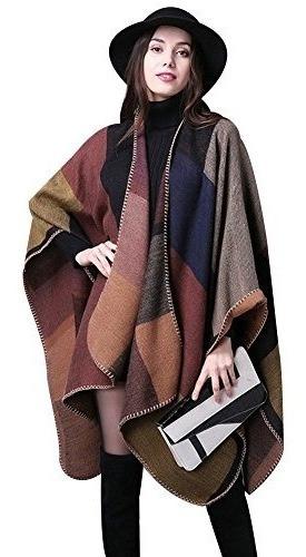 Ilishop Mujeres Invierno Reversible Oversized Blanket Poncho