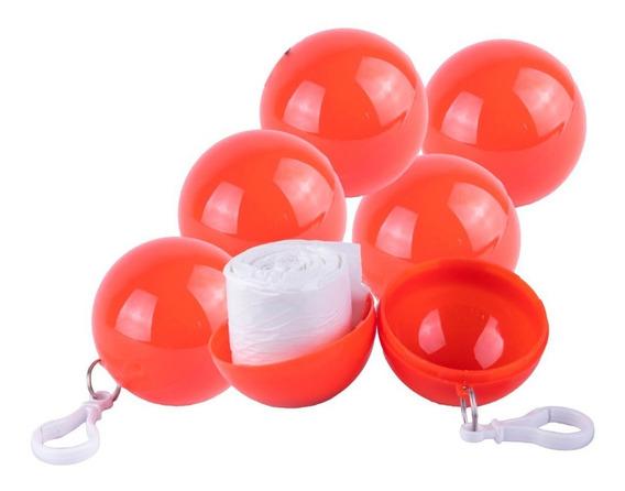 Impermeable De Bolsillo Plastico Rojo Lluvia Llavero 6 Pack