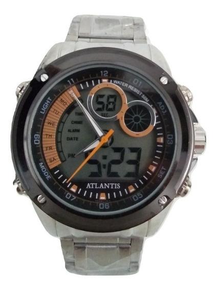 Relógio Masculino Esportivo Barato Prata Atlantis Original