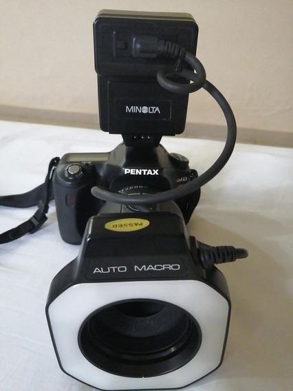 Câmera Pentax Istd Lente Macro E Flash Circular Minolta