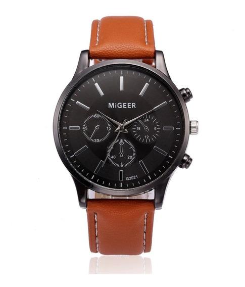 Relógio Masculino Pulseira De Couro Migeer Luxo Quartzo 2021