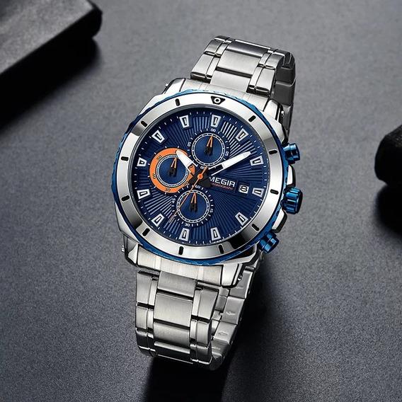 Relógio De Luxo Banda De Aço Inoxidável Megir