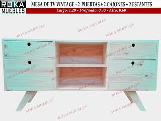Mesa De Tv Retro 2 Cajones 1.20x0.30x0.60 Pino Roka Muebles