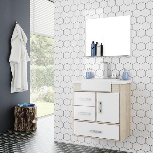 Conjunto Gabinete Banheiro Alhena 60 Munique Branco Cerocha