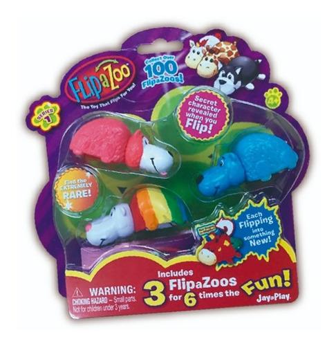 Flipazoo Mini X3 Figuras Goma Reversible 2 En 1 Tv Educando