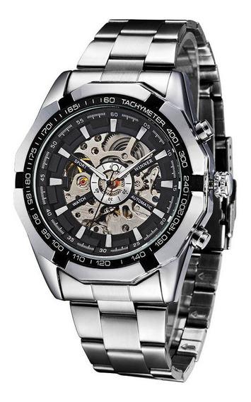 Reloj Esqueleto Winner Mecánico Semi Automático A La Moda