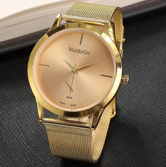 Relogio Feminino Luxo Womage Promoção Dourado