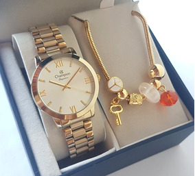 Relógio Champion Feminino Dourado Luxo + Pulseira Cn25163s