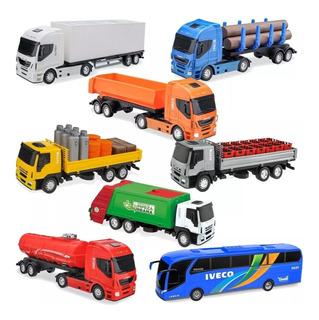 Kit 8(oito) Caminhão Brinquedo Iveco Escala 1/32 Bau Onibus