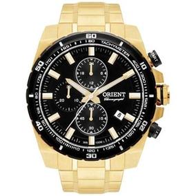 Relógio Orient Mgssc010 Dourado Cronógrafo Mostrador Preto