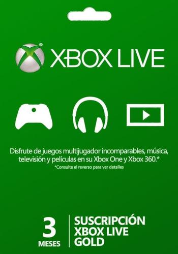 3 Meses Xbox Live Gold - Xbox 360 / Xbox One - Key Codigo