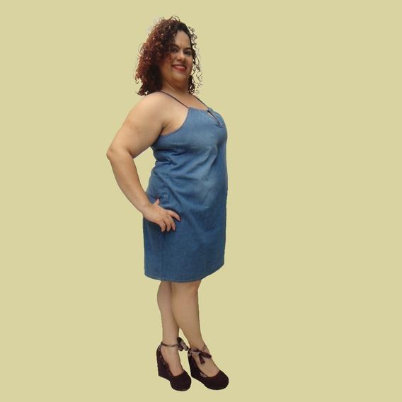 Vestido Jeans Plus Size Do 44 Ao 58 Detalhe Gota