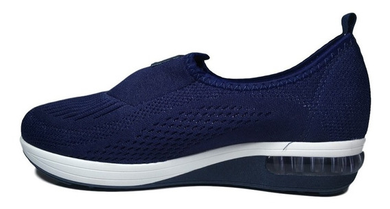 Tênis Feminino Modare Em Lycra Preto - Azul Sem Cadarço 7320