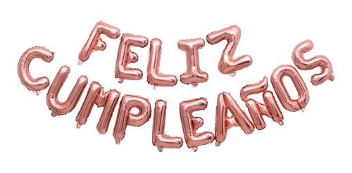 15 Letras 40cm Feliz Cumpleaños Globos Metalizados Rosa Gold