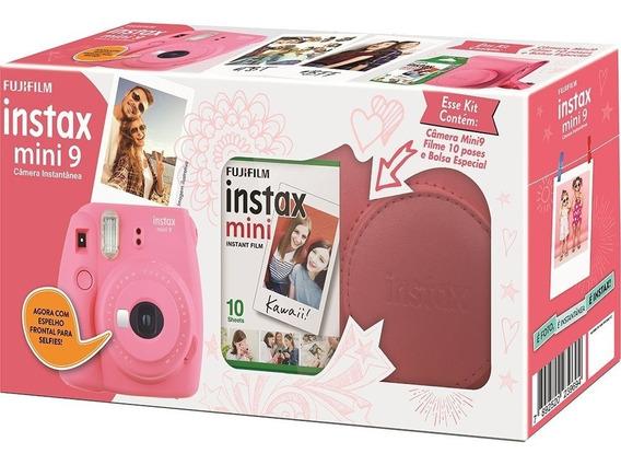 Kit Câmera Instax Mini 9 Rosa Flamingo + Bolsa + 10 Filmes