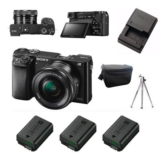 Sony A6000 + Carregador + 3 Baterias + Bolsa + Tripé
