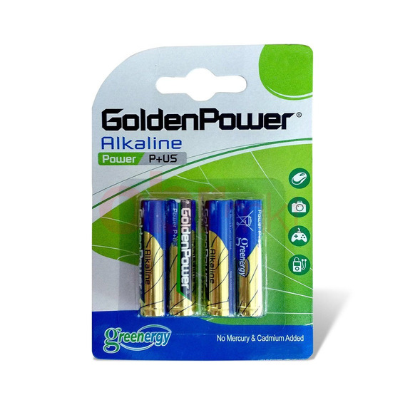 Kit 4 Pilhas Aa 1,5v Alcalinas Golden Power