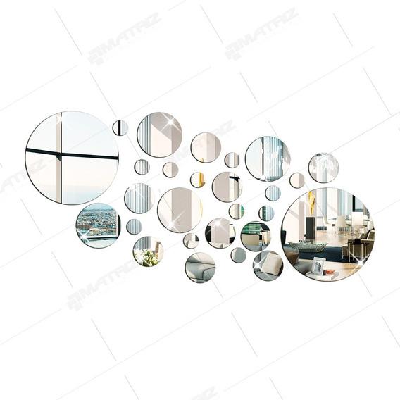 Espelho Decorativo Em Acrílico Círculos 27 Peças P25