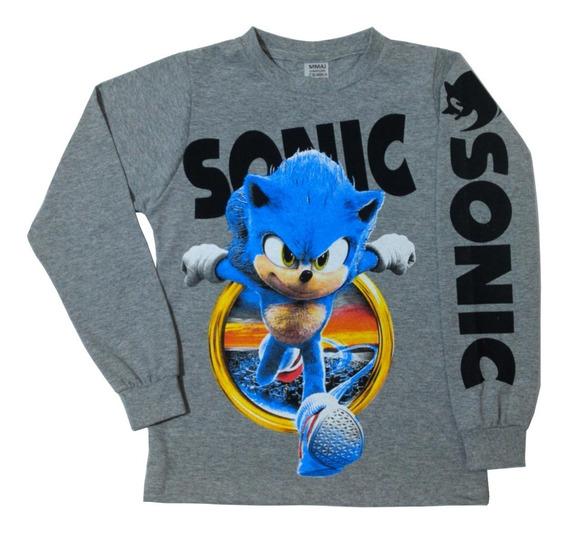 Camiseta Blusa Infantil Manga Longa Meninos Sonic + Brinde