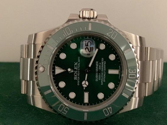 Relogio Rolex Submariner Green Hulk Aço 904l Movimento Suiço