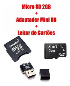 Micro Sd 2gb + Adaptador Mini Sd + Leitor De Cartões Metal
