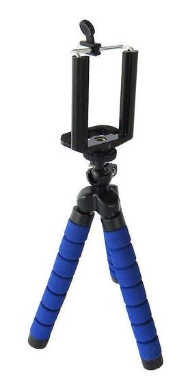 Mini Tripé 18cm Selfie Flexi Pod Para Câmera E Web Cam Azul