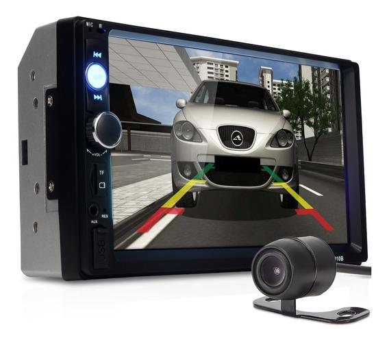 Central Multimídia Mp5 Som Carro Bluetooth Câmera Ré Brinde
