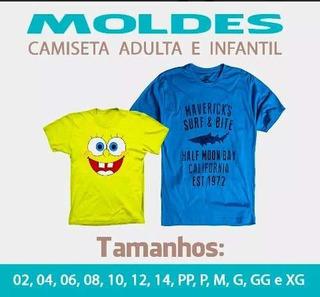 Kit Molde Camiseta Infantil 2 Ao 16 E Adulto Pp Ao Xg
