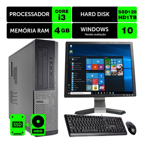 Imagem 1 de 5 de Desktop Usado Dell Optiplex Int I3 2g 4gb Ssd120+1tb Mon17q