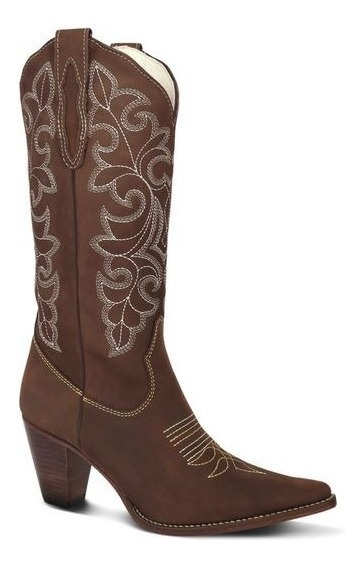 Bota Country Feminina Texana Lady Silver Couro Nobuck Cafe