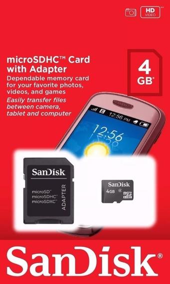 Cartão Memória Micro Sd 4gb + Adaptador Sandisk Original