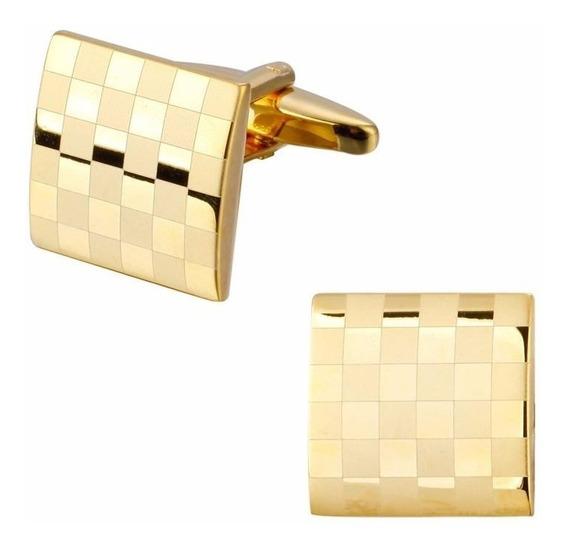 Abotoadura Quadriculada Dourada Banhada Ouro 18k - Ref. J 54