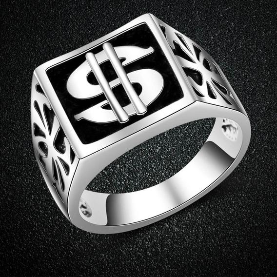Anillo Signo Dólar Abundancia Dinero Diseño Exclusivo A-189