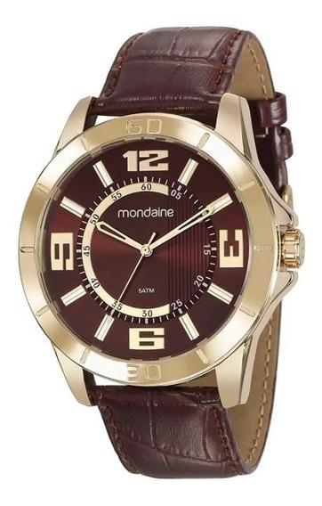Relógio Mondaine Masculino Dourado Pulseira Couro Fundo Marron Texturizado Ref. 99372gpmvdh2