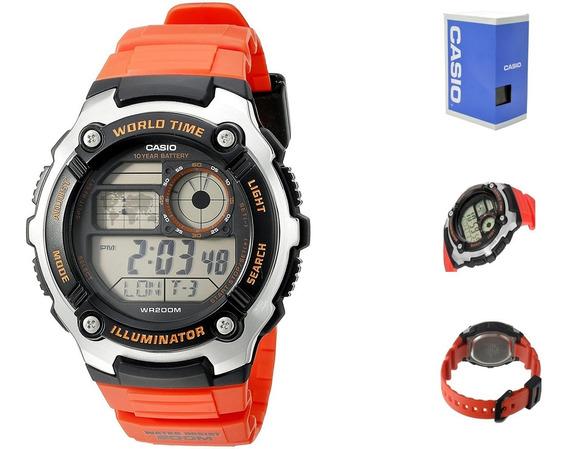 Casio Digital Ae2100 4a Correa Naranja *watchsalas*