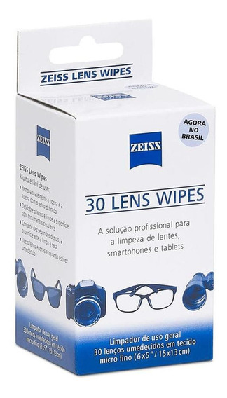 Lenços Umedecidos Zeiss Lens Wipes - 30 Unidades