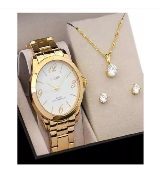 Relógio Feminino Nowa Dourado Nw1015k Com Kit Colar E Brinco
