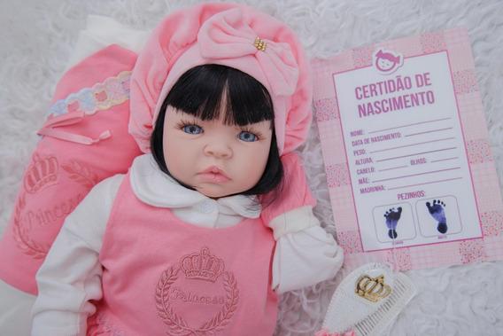 Boneca Reborn Menina Real Princesa Enxoval 53cm + Canguru