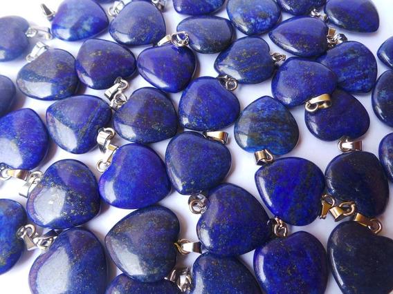 Pingente Colar Coração Em Pedra Lápis Lazuli Mais Cordão