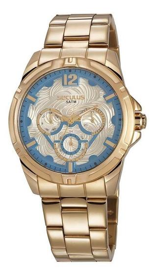 Seculus Relógio Multifunção Visor Texturizado Aço Dourado