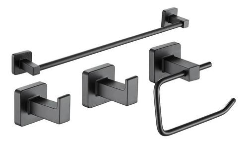 Imagen 1 de 2 de Juego Set Accesorios Baño Piazza Cube 4 Piezas Negro 73028n
