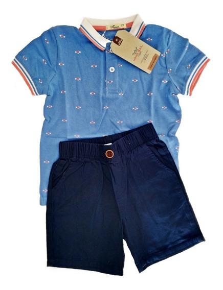Conjunto Infantil Menino 1 A 3 Anos Azul Camisa Polo E Short