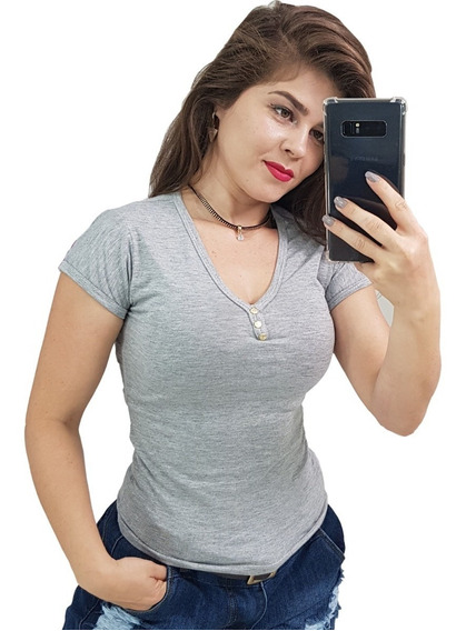 Kit 12 Camisetas Femininas Baby Look Botão Gola V Tubinho
