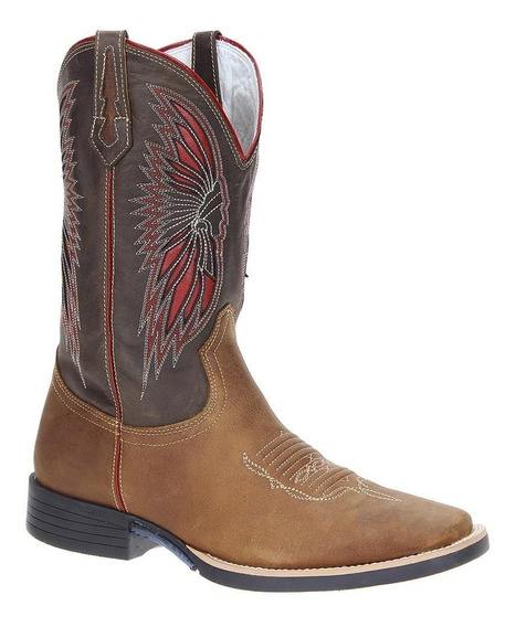 Bota Country Masculina Bico Quadrado West Country Marrom 200