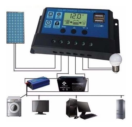 2 Controlador De Carga Solar 30a Lcd Usb Regulador Automatic