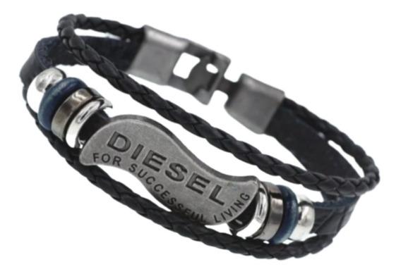 Pulseiras Masculinas Couro Tribal Diesel Hip Hop Bracelete
