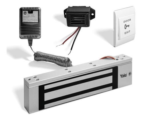 Imagen 1 de 5 de Kit Electroimán 350lb Exteriores +botón+buzzer+transformador